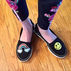 Shoes - Black Espadrilles with Patches {sizes 6-10}